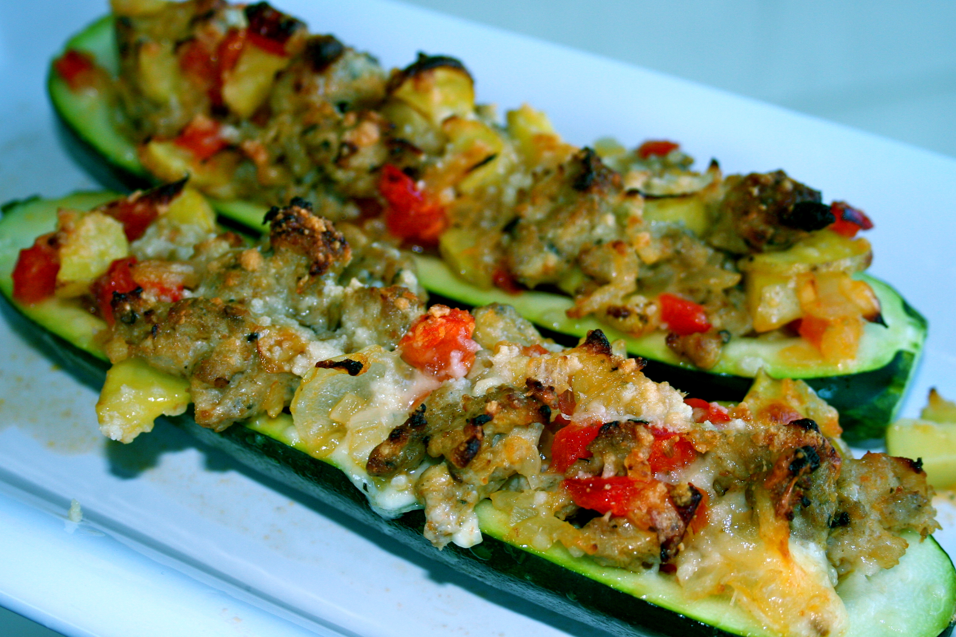 Sausage Stuffed Zucchini Boats Recipes — Dishmaps